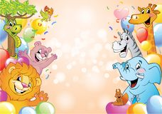 Cartoon cheerful animals, holiday background. Cartoon animals in multi-colored balloons against background with bokeh lights and stars, vector illustration vector illustration