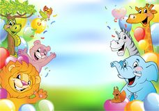 Cartoon cheerful animals, holiday background. Cartoon animals in multi-colored balloons against blue sky, vector illustration. Festive background with free space stock illustration