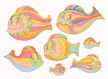 Of cartoon, cheerful brightly colored fish. Set of cartoon, cheerful brightly colored fish Stock Image