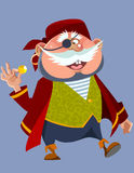Cartoon cheerful chubby man in a pirate costume Stock Photography