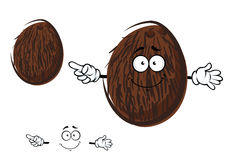Cartoon cheerful coconut fruit character. Cartoon tropical coconut fruit character with brown coir fibre and cheerful smile, for agriculture or food design royalty free illustration