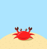 Cartoon cheerful crab at the beach, natural seascape Royalty Free Stock Photo