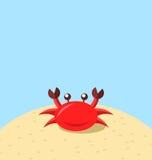 Cartoon cheerful crab at the beach, natural seascape Royalty Free Stock Photo