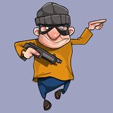 Cartoon cheerful man in bandit mask with gun in hand Royalty Free Stock Image