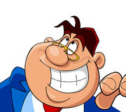 Cartoon cheerful man smiles Royalty Free Stock Images