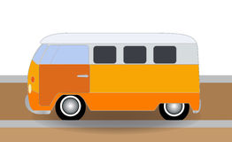Cartoon cheerful minibus, which travels on the road. Vector Illu Stock Image