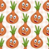 Cartoon Cheerful Onion Seamless Pattern Royalty Free Stock Photography