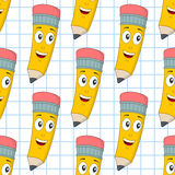 Cartoon Cheerful Pencil Seamless Pattern Stock Photos