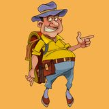 Cartoon cheerful pot bellied male tourist with backpack. Points his finger stock illustration