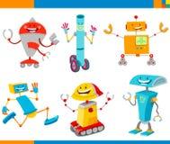 Cartoon Cheerful Robots Characters Set royalty free illustration