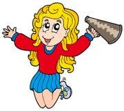 Cartoon cheerleader. On white background - illustration stock illustration