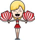 Cartoon Cheerleader Cheering. A cartoon illustration of a teen cheerleader girl cheering with pom-poms stock illustration