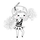 Cartoon cheerleader. Cute sketch cartoon cheerleader.Vector illustration royalty free illustration