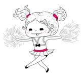 Cartoon cheerleader. Cute sketch cartoon cheerleader.Vector illustration stock illustration
