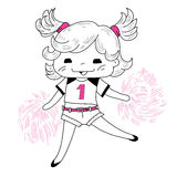 Cartoon cheerleader. Cute sketch cartoon cheerleader.Vector illustration vector illustration