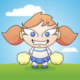 Cartoon Cheerleader with Pom Poms. A cute little girl cheerleader standing with some pom poms ready to cheer Stock Image