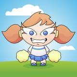 Cartoon Cheerleader with Pom Poms Stock Image