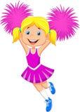Cartoon Cheerleader with Pom Poms Royalty Free Stock Image