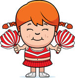 Cartoon Cheerleader Pompoms. A cartoon illustration of a little cheerleader with pompoms Stock Photos