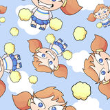Cartoon Cheerleader Seamless Pattern. A seamless pattern with a cute cheerleader and pom poms flying through the sky with clouds Royalty Free Stock Photos