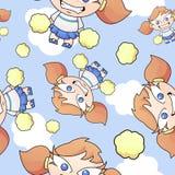 Cartoon Cheerleader Seamless Pattern Royalty Free Stock Photos