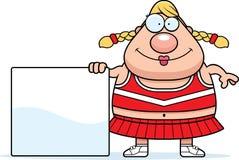 Cartoon Cheerleader Sign. A cartoon illustration of a cheerleader with a sign royalty free illustration