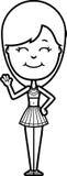 Cartoon Cheerleader Waving. A cartoon illustration of a teen cheerleader girl waving stock illustration
