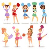 Cartoon cheerleaders girls sport fan dancing cheerleading woman team uniform characters vector illustration Stock Image