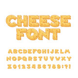 Cartoon cheese alphabet font. Type letters, numbers, symbols. stock illustration
