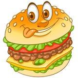 Cartoon cheeseburger burger hamburger. Burger. Hamburger. Cheeseburger. Fast Food concept. Happy cartoon design for kids coloring book, colouring page, t-shirt vector illustration