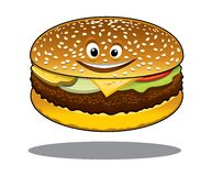 Cartoon cheeseburger with a happy smile. And a ground beef patty, melted cheese, lettuce and tomato on a sesame bun isolated on white Royalty Free Stock Photo