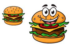 Cartoon cheeseburger with a laughing face. With a beef patty, cheese, lettuce and tomato on a sesame bun, and a second version with no face, isolated on white Stock Photos