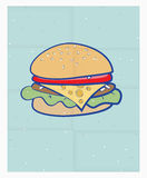 Cartoon cheeseburger on a poster Royalty Free Stock Photos