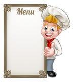 Cartoon Chef or Baker Character Menu Royalty Free Stock Images