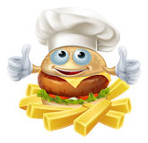 Cartoon chef burger and fries. Cartoon chef burger mascot character and French fries or chips Stock Image