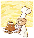 Cartoon chef with cake Stock Photo