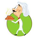 Cartoon chef carrying tray with chicken Stock Photo