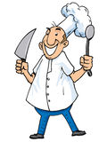Cartoon of a chef with carving knife and ladle Stock Photos