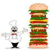 A cartoon chef & cheeseburger. A cartoon chef with a giant XXL cheeseburger Stock Photo