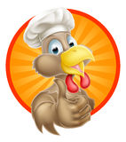 Cartoon Chef Chicken. A cartoon chicken mascot wearing a chef hat and giving a thumbs up Stock Photos