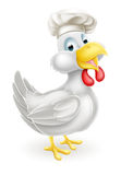 Cartoon Chef Chicken. A cartoon white chicken mascot wearing a chef hat Stock Image