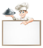 Cartoon chef with cloche and menu. A cartoon chef holding a silver platter or cloche pointing at a banner or menu Stock Photos