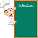 Cartoon chef cloche pointing at a banner or menu Stock Photos