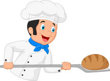 Cartoon chef cook bread Royalty Free Stock Photos