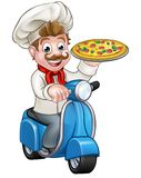 Cartoon Pizza Chef on Delivery Moped Scooter. Cartoon chef or cook character riding a moped motorbike scooter delivering a pizza vector illustration