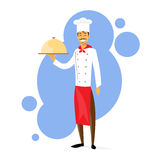 Cartoon Chef Cook with Dish Full Length Flat Stock Photography
