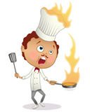 Cartoon chef cooking a flambe with his hat in flames Stock Photos