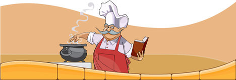 Cartoon chef cooks in the pot and looks in the book Royalty Free Stock Images
