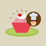 Cartoon chef dessert cupcake cherry chips Royalty Free Stock Photos
