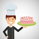 Cartoon chef dessert delicious cake cream strawberry Royalty Free Stock Image